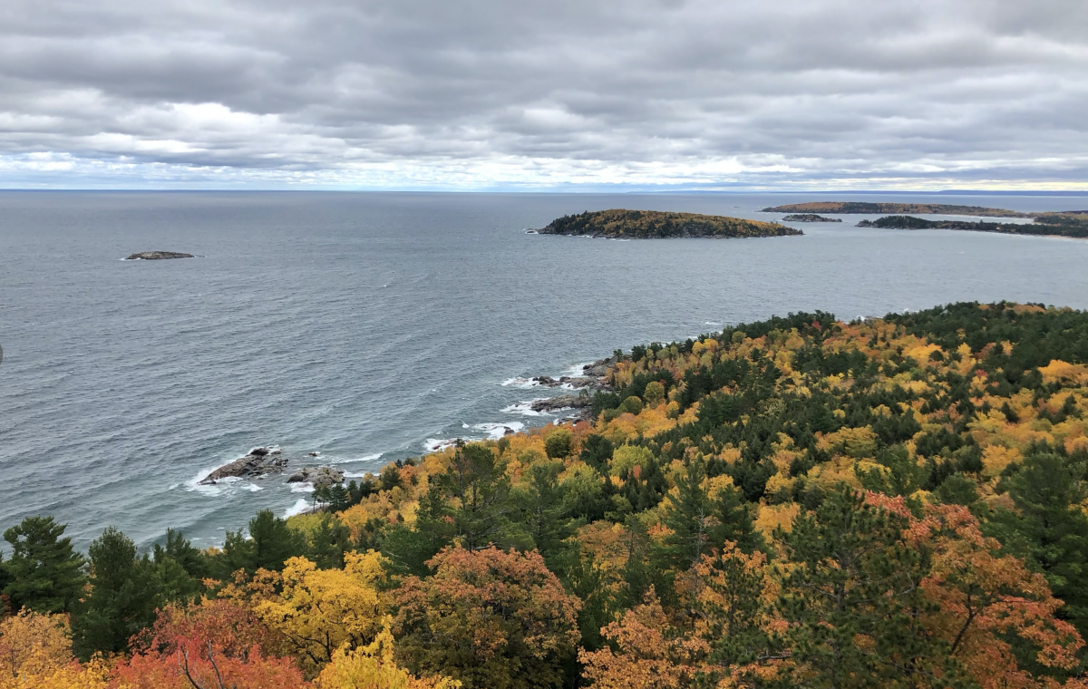 Fall color scene from the top of Sugarloaf Mtn in Marquette MI